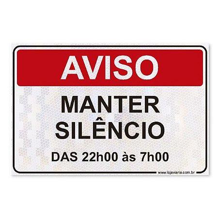 Placa Manter Silêncio 30x20 cm ACM 3 mm