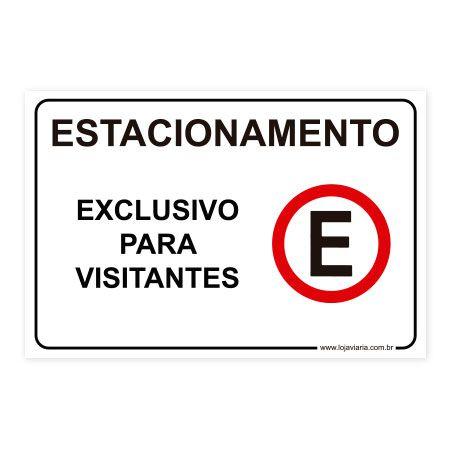 Placa Estacionamento Exclusivo para Visitantes 30x20 cm ACM 3 mm