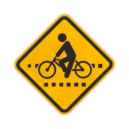 Placa Passagem sinalizada de ciclistas A-30b