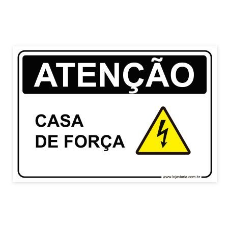 Placa Atenção, Casa de Força 30x20 cm ACM 3 mm