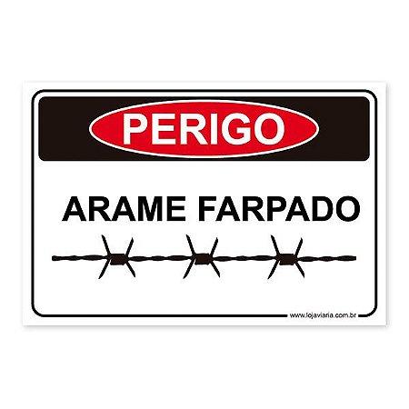 Placa Perigo, Arame Farpado 30x20 cm ACM 3 mm