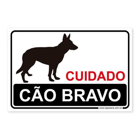 Placa Cuidado, Cão Bravo 30x20 cm ACM 3 mm