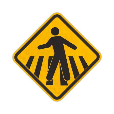 Placa Passagem sinalizada de pedestres A-32b
