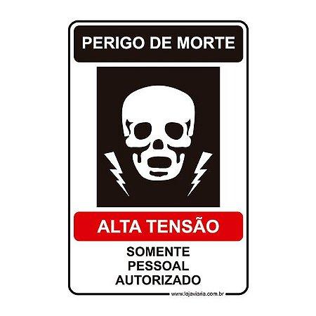 Placa Perigo de Morte, Alta Tensão 20x30 cm ACM 3 mm