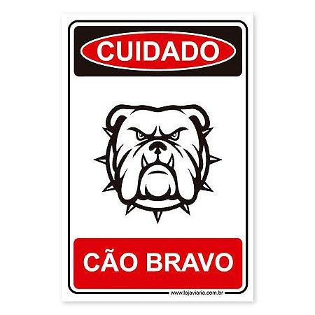 Placa Cão Bravo 20x30 cm ACM 3 mm