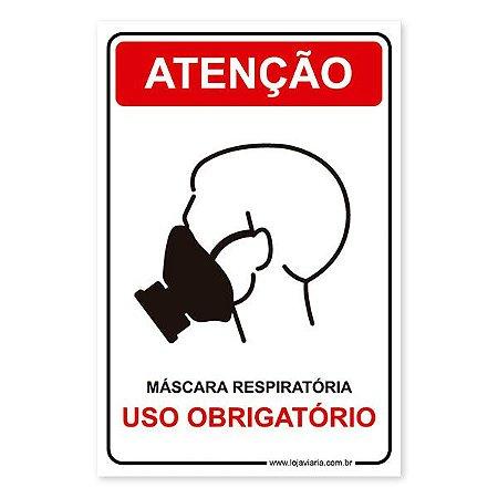 Placa Uso Obrigatório de Máscara Respiratória 20x30 cm ACM 3 mm