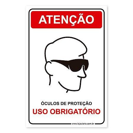 Placa Uso Obrigatório de Óculos de Proteção