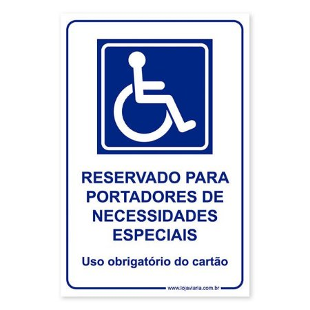 Placa Reservado para Deficiente Físico 20x30 cm ACM 3 mm
