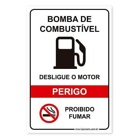 Placa Perigo, Bomba de Combustível 20X30 cm ACM 3 MM