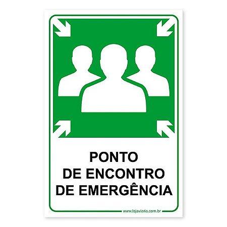 Placa Ponto de Encontro de Emergência - 20x30 cm ACM 3 mm