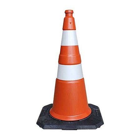Cone de sinalização com base de borracha - 75 cm
