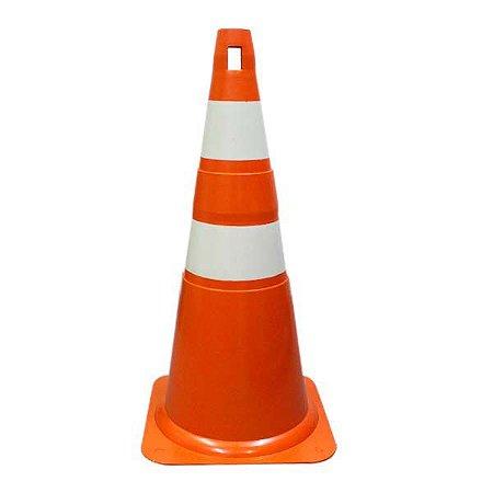 Cone para Sinalização de PVC 75 cm - Laranja/Branco
