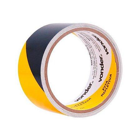 Fita zebrada adesiva refletiva 3 m - Amarelo/preto - Vonder