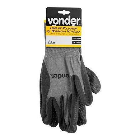 Luva de proteção - poliamida com borracha nitrílica antiderrapante - Vonder