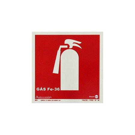 Placa Fotoluminescente Extintor Gas Fe-36