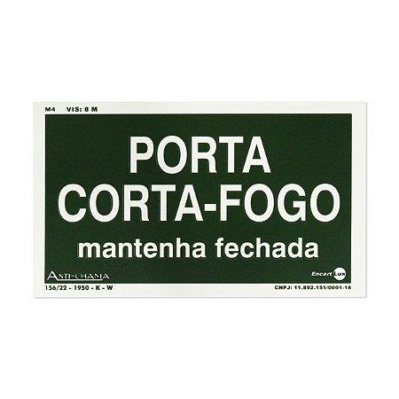 Placa Fotoluminescente Porta Corta-fogo - 25 x 15 cm
