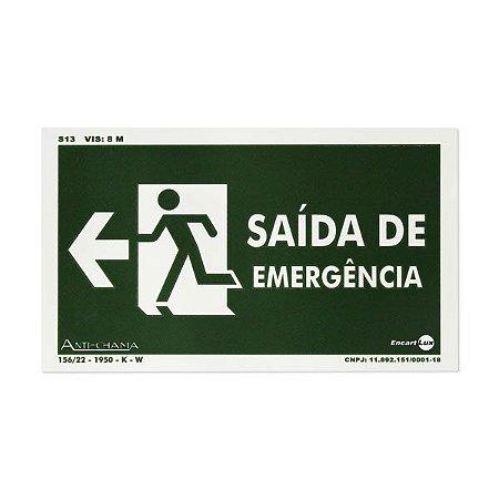 Placa Fotoluminescente Rota de Fuga Seta à Esquerda - Saída de emergência - 25 x 15 cm