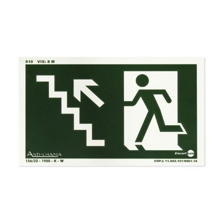 Placa Fotoluminescente Rota de Fuga de Emergência - Escada Subindo à Esquerda - 25 x 15 cm