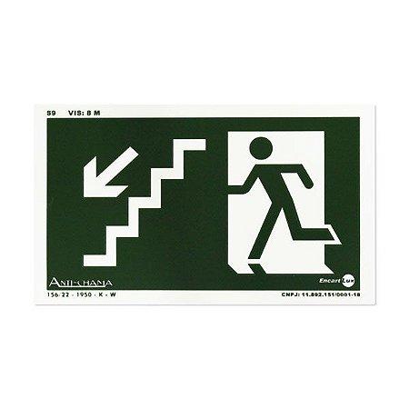 Placa Fotoluminescente Rota de Fuga de Emergência - Descendo a escada à Esquerda - 25 x 15 cm