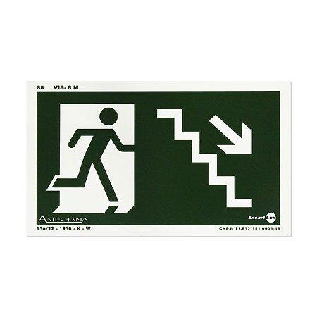 Placa Fotoluminescente Rota de Fuga de Emergência - Descendo a escada à direita- 25 x 15 cm