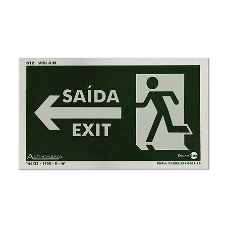 Placa Fotoluminescente Saída/Exit - Seta à Esquerda - 25 x 15 cm