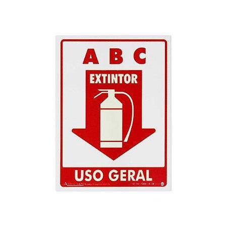 Placa Fotoluminescente Extintor Para Uso Geral ABC