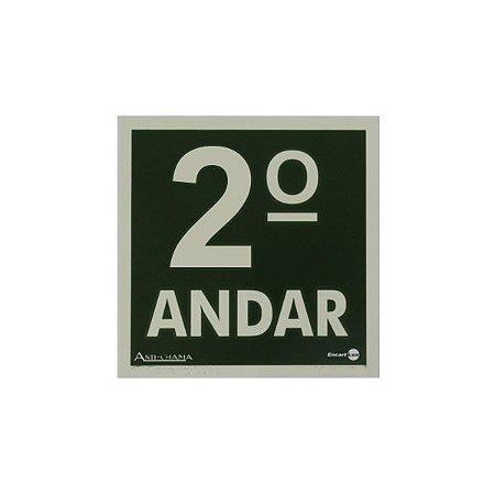 PLACA FOTOLUMINESCENTE SEGUNDO ANDAR - 18 X 18 CM