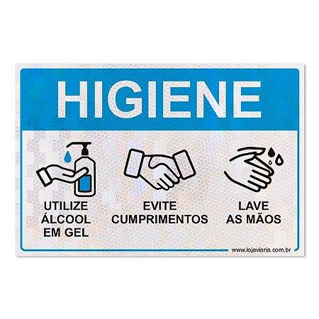 Placa de cuidados de higiene com as mãos
