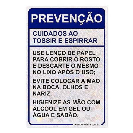 Placa de Prevenção - Cuidados ao tossir e espirrar - 26,5 x 40 cm ACM 3 mm