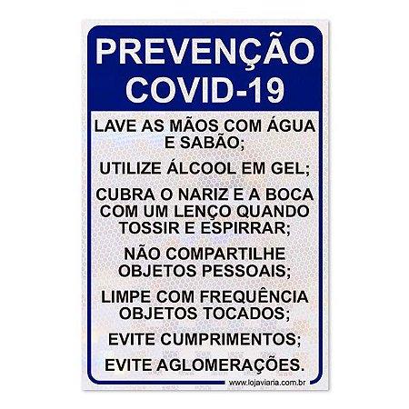 Placa de Prevenção Covid-19 - 26,5 x 40 cm ACM 3 mm