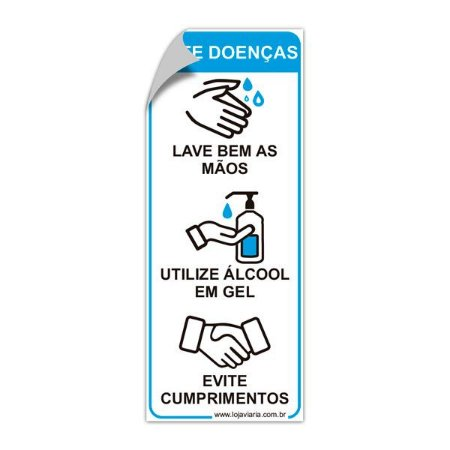 Adesivo refletivo - Evite doenças (cuidados de higiene) - 12 x 30 cm