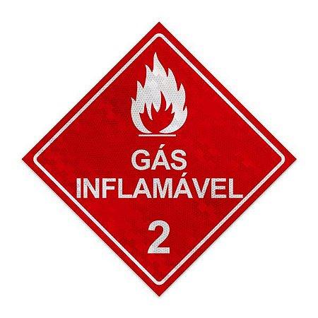 Placa para caminhão - Gás Inflamável 2 - 30 x 30 cm ACM 3 mm