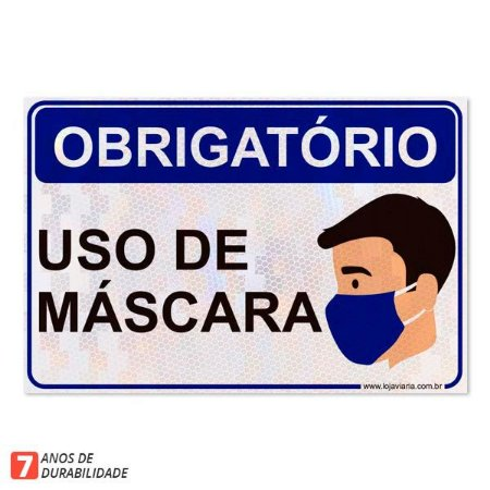 Placa uso obrigatório de mascara - 30 x 20 cm ACM 3mm