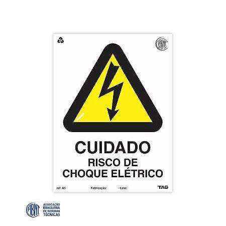 Placa de PVC - A5 Cuidado risco de choque elétrico - 15 x 20 cm