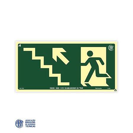 Placa Fotoluminescente - S10 Escada de emergência à esquerda