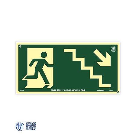 Placa Fotoluminescente - S8 Escada de emergência abaixo à direita