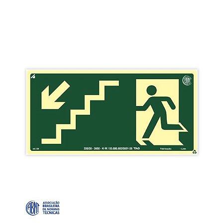 Placa Fotoluminescente - S9 Escada de emergência abaixo à esquerda