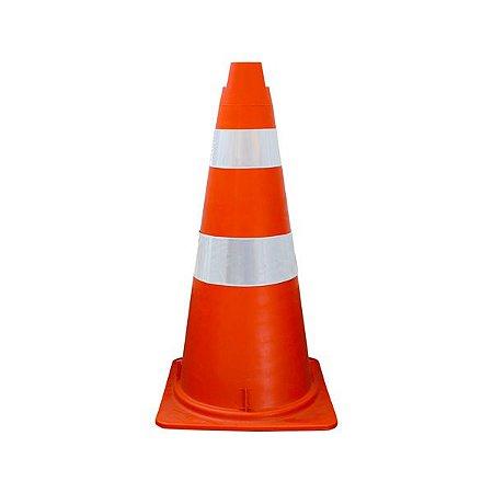 Cone Semi flexível de sinalização com faixa refletiva - 75 cm