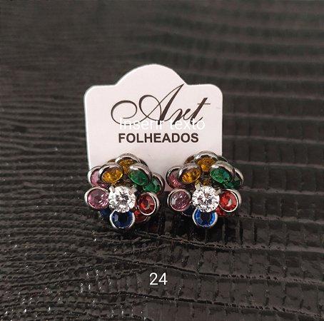 brinco de pedras flor colorido banho rodio negro