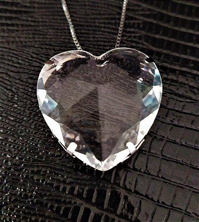 colar de coraçao pedra cristal banho rodio negro