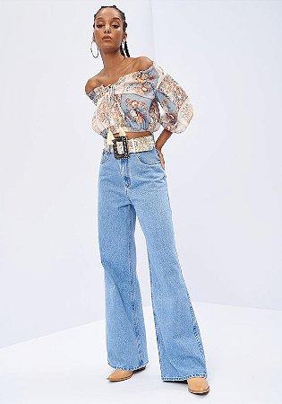 Calça Jeans Wide Leg Super High