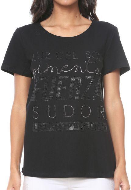 T-Shirt Lança Perfume Aplicações Preta