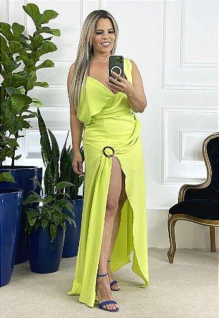 Vestido Alcinha Verde Limão com Fenda e Detalhe no Ombro