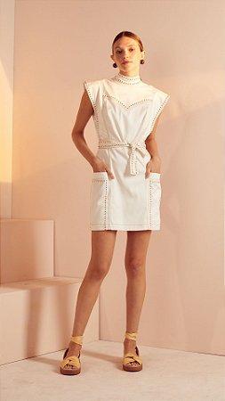 vestido curto aba rebites