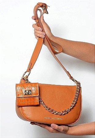Bolsa Tiracolo Couro Off Pecan com Micro Bag