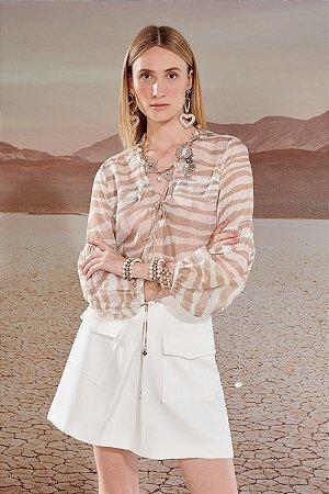 Blusa Transparente Listrado Sand