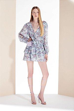 Vestido Fluido com Babados Estampa Floral