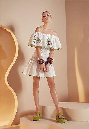 Vestido Mini Decote Ruflado Festonê