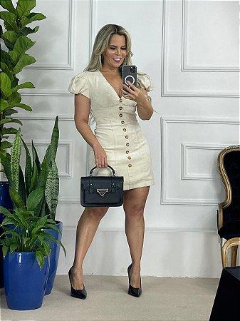 Vestido Camurça Manguinha Bufante