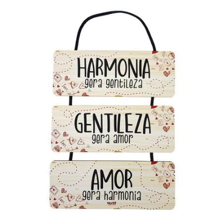 Trio Plaquinhas - Harmonia, Gentileza, Amor